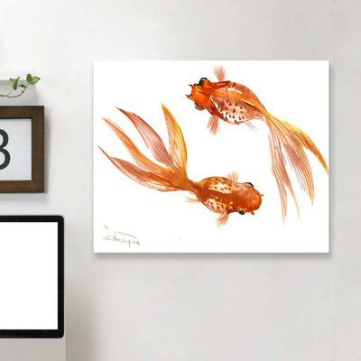 "East Urban Home 'Feng Shui Goldfish Koi III' Graphic Art Print Size: 32"" H x 48"" W x 1.5"" D, Material: Wrapped Canvas"