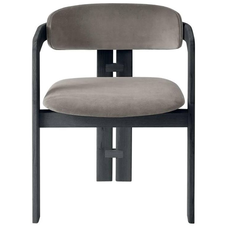 Unique Italian Designed Three Legged Dining Chair In Wood And Upholstery