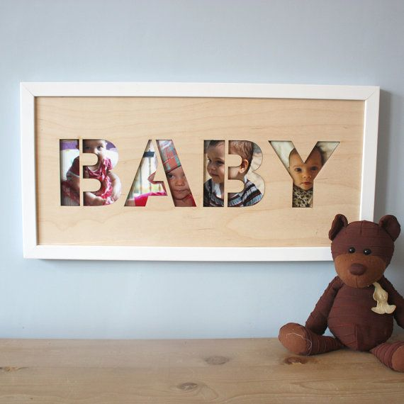 Personalise your baby's nursery with this lasercut wall art with photographs or artwork