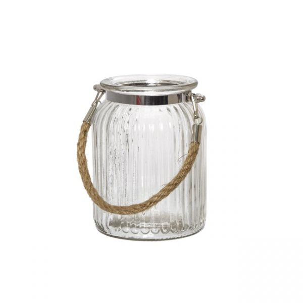 Hurricane Glass Jar With Jute Rope Clear 11dx14 5cmh Glass Jars Hurricane Glass Jute Rope