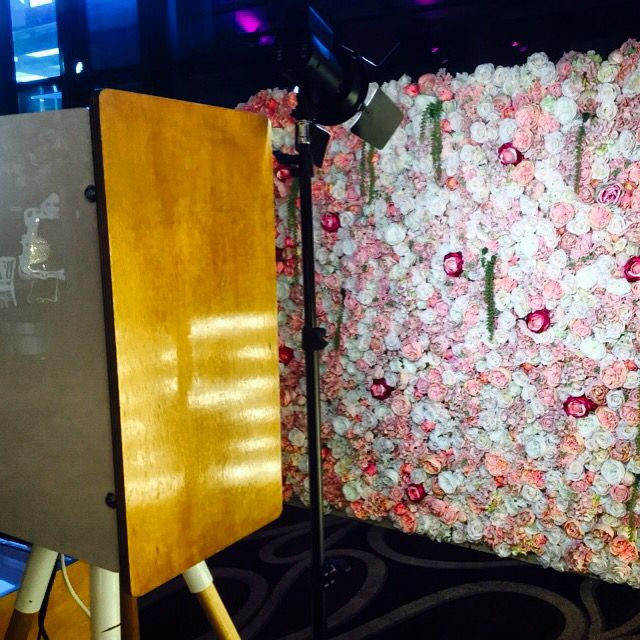 Vintage Booth with Pink & White Flower Wall  Enquire with us today! Info@sharebooth.com.au www.sharebooth.com.au