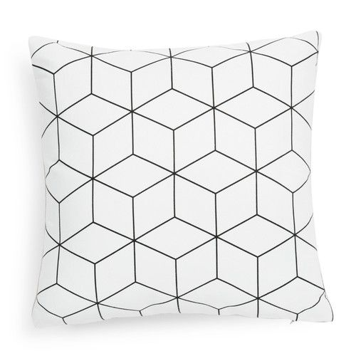 Kissenbezug CUBO aus weiß Stoff, 40 x 40 cm