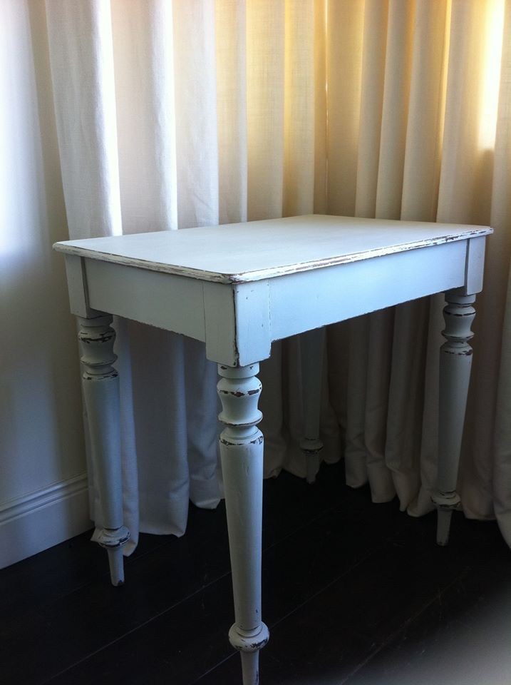 Victorian Table Handpainted with silver birch from colortrend