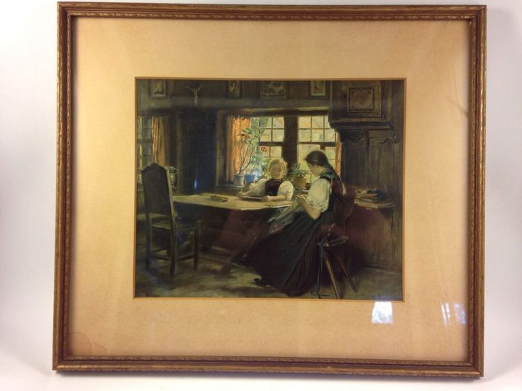 Im Herrgottswinkel, Frauen Nähen by W. Hasemann Color Lithograph Print with mat. ebsAmerica