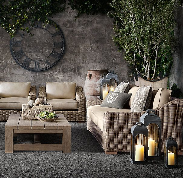 Beautiful outdoor room featuting the Provence Collection from Restoration Hardware