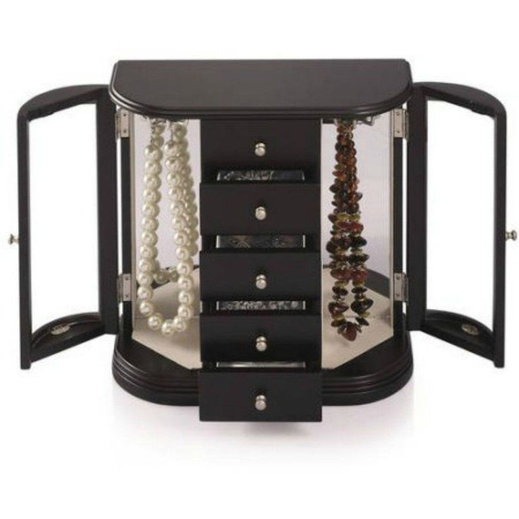 Jewelry Box with Glass Doors, Black 2 Curved Glass Doors Jewelry Box 5 Drawers