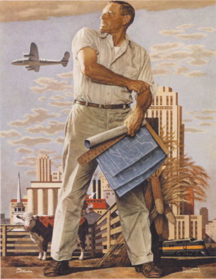 "Norman Rockwell - ""Kansas City Spirit"".  This painting, a gift to Joyce Hall, depicts the rebuilding of Kansas City after the devastating 1950's flood."