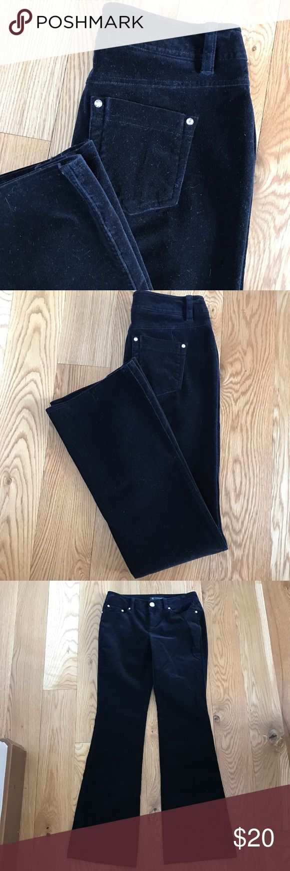 """LIKE NEW INC BLACK VELVET FEEL FLARE JEANS From INC, these jeans feel like velvet with a flare fit and beautiful bling hardware. Front button and zipper, 5-pocket style and slightly flared leg. 98% cotton and 2% spandex for awesome fit. size 4. 14"""" waist, 10"""" rise, 32"""" inseam. INC International Concepts Jeans Flare & Wide Leg"""