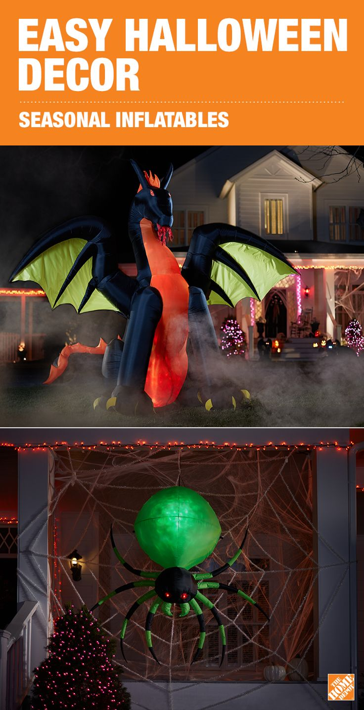 Be the talk of the town this Halloween and decorate your yard with a larger-than-life dragon or spider inflatable. Making a big impression is easy and fun with these blow-up creatures and will certainly make your house a hit with trick-or-treaters. Browse more inflatables at The Home Depot.