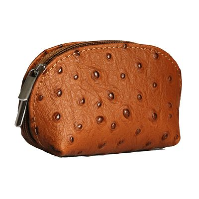 Tan Ostrich Leather Coin Purse - Now with free UK postage!