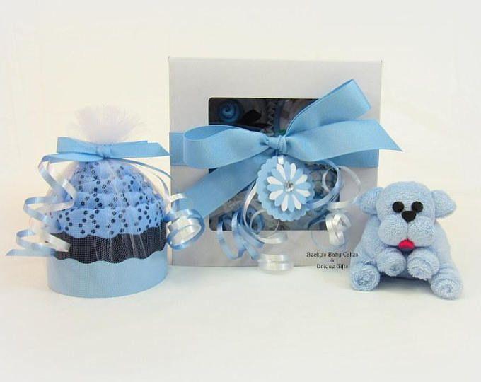Regalo bambino Boy, Boy Baby Cupcakes, Baby Boy regalo Set, Unique Baby Gift, Onesie Cupcake, asciugamano piccolo cucciolo, cucciolo Baby Shower, doccia cucciolo blu