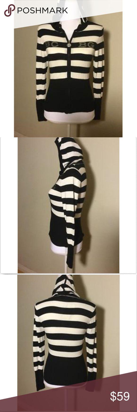 BCBG Maxazria Women's Stripe Full Zip Up Hoodie BCBG Maxazria Women's Stripe Full Zip Up Light Hoodie Size Medium Black/White  Color: black and white  Tag price: $140.00  Size: Medium BCBGMaxAzria Sweaters Cardigans