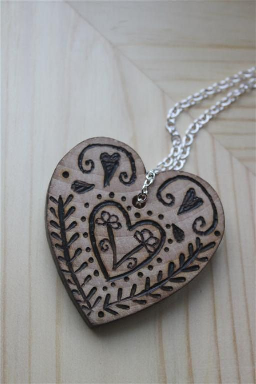 Wooden Heart Necklace with Folk Style Pyrography Design