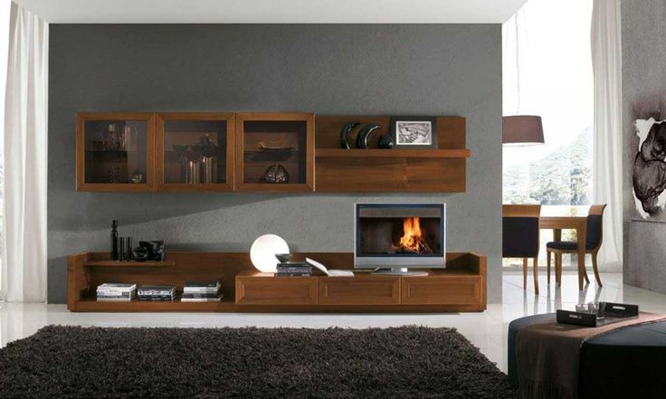 Cupboard Wall Pic with wooden material and black carpet for living room