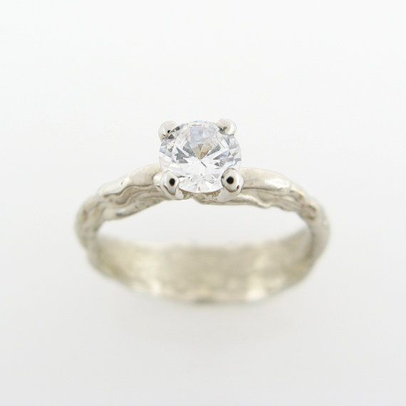 18K Organic engagement ring White gold by GuyCohenJewelry on Etsy