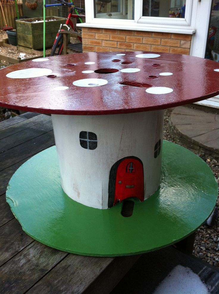 Toadstool Table From A Cable Reel Timber Equipment