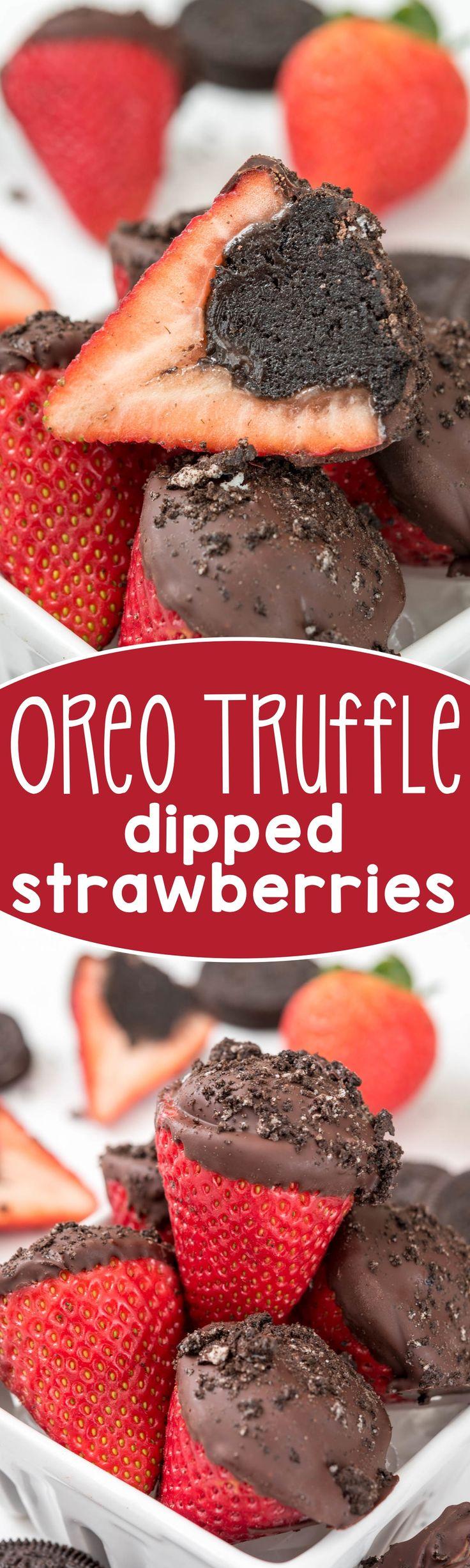 OMG! Necesito hacer estas fresas rellenas de trufas de OREO... Primero rellenas de trufas la fresa y luego la bañas en chocolate. DECADENTE y DELICIOSO Oreo Truffle Dipped Strawberries - an easy treat for the one you love! Stuff strawberries with an Oreo truffle before you dip - genius!