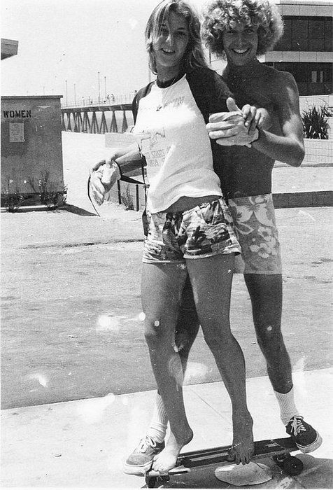 """Mike & Rachel at the Huntington Beach Pier, 1977. www.fashion.net"