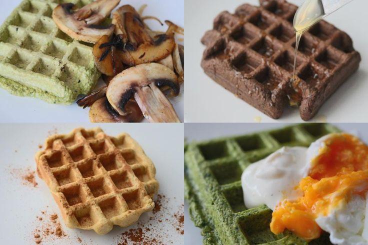 Love - Futuracasinha do Blog aqui Waffles de farinha de milho <3 Waffles de aveia + cacau em pó Waffles de batata doce Waffles de Espinafres + sour cream Waffles de centeio integral + banana Wa...