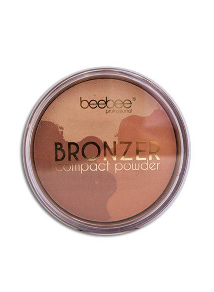 beebee bronzer t.w.v. €19,95 geeft het effect van drie weken zon in drie seconden. Deze zachte, matterende bronzer geeft de huid onmiddellijk de look van een natuurlijke gebruinde huid.  De beebee bronzer draagt zorg voor de huid en de zachte perziktint past bij elk huidtype. De beebee bronzer is  kkelijk en snel aan te brengen en zorgt voor een gezonde gloed. Perfect in combinatie met de beebee prowder brush.