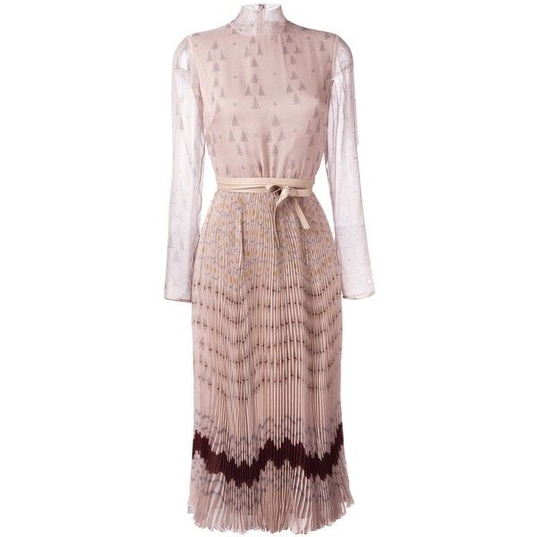 Valentino triangle chiffon maxi dress ($6,200) ❤ liked on Polyvore featuring dresses, chiffon dresses, long sleeve dress, brown maxi dress, long-sleeve maxi dresses and long brown dress