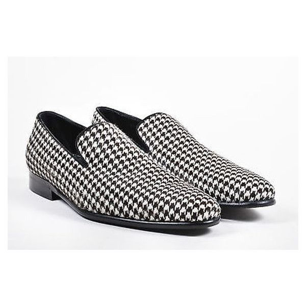 Pre-Owned Mens Dolce & Gabbana Nwob White Brown Pony Hair Houndstooth... ($605) ❤ liked on Polyvore featuring men's fashion, men's shoes, multi, mens slip on loafers, mens brown shoes, mens slipon shoes, mens brown loafer shoes and mens slip on shoes