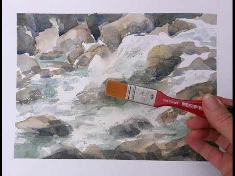 How to Paint Moving Water in Watercolor - YouTube #watercolor jd