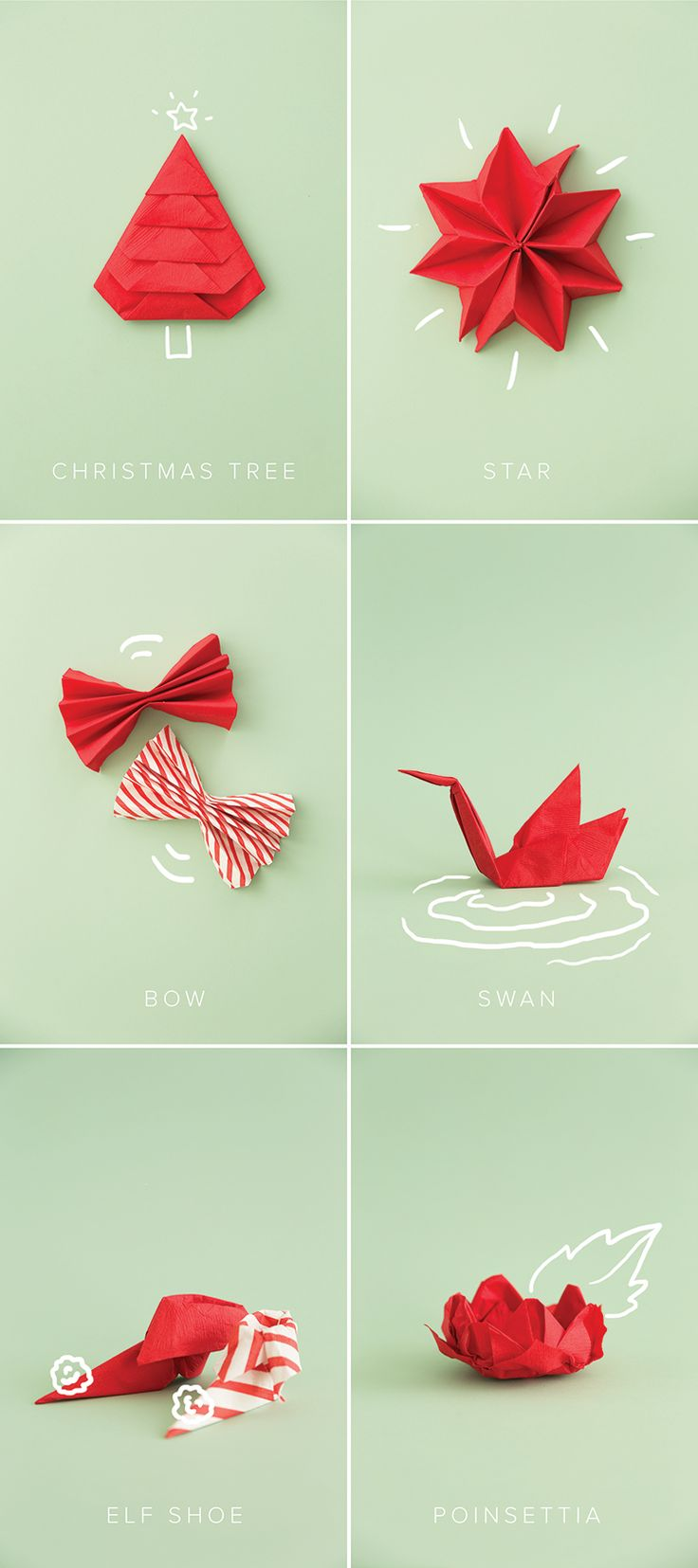 Get in the festive spirit by learning the art of napkin folding! A fun activity that is easy and passes the time!