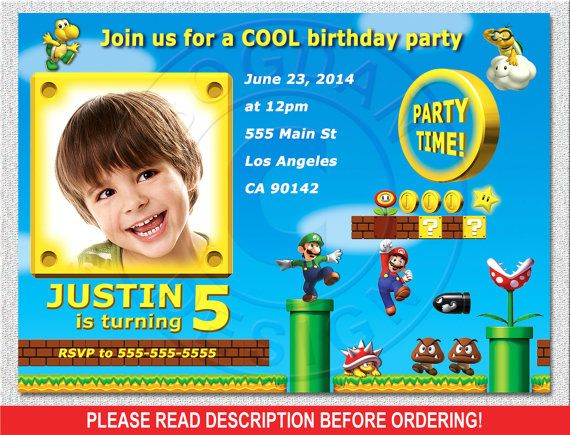 Mario invitation Super Mario invitation Mario by BogdanDesign