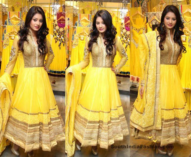 HALDI DRESS- India Fashion /// Dazzling Anarkali Suit by Neeru's Celebrity Sarees, Designer Sarees, Bridal Sarees, Latest Blouse Designs 2014 South India ...