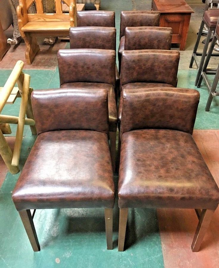 SET OF 8 FAUX LEATHER CHAIRS / SHORT STOOLS / PUB / CAFE / LOW BACK / WOOD #Unbranded