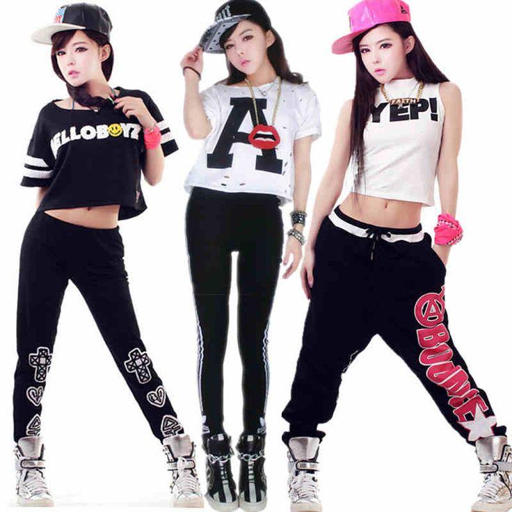 ce50e2c464132 Jazz-Hiphop-danza-ropa-danza-traje-de-hip-hop -Sexy-desgaste-superior-y-pantalón