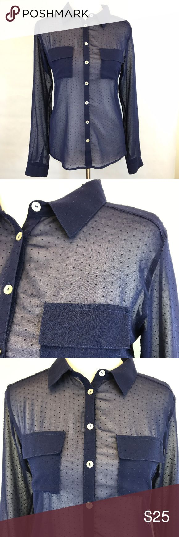 """Olive & Oak Top Size Small Blue Sheer Polka Dot Olive & Oak sheer button down top with embroidered polka dots, long sleeves and flap pockets on the chest.     Size Small 100% polyester Bust underarm to underarm:  19"""" Shoulders across the back:  15"""" Length from bottom of collar to hem:  26"""" Very good condition. Olive & Oak Tops Blouses"""