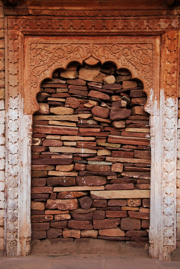 A decorative Indian arched door in a ruined palace bricked up with stones Rajasthan India. & 91 best Bricked up images on Pinterest | Bricks Brick walls and ... Pezcame.Com
