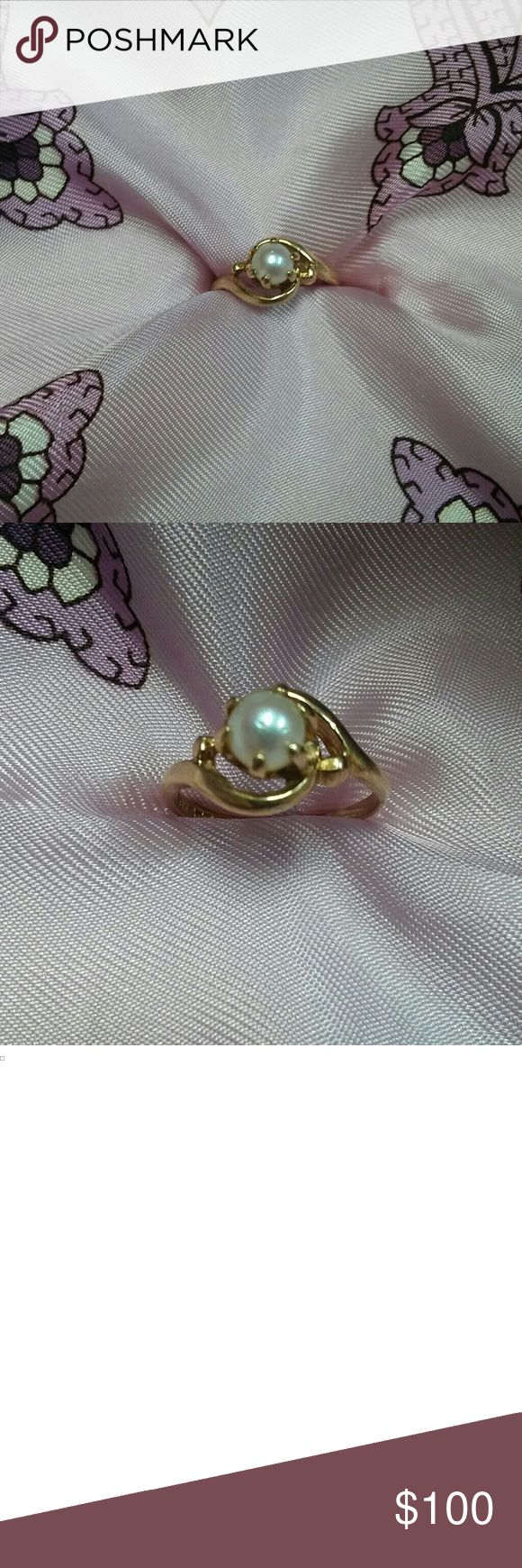 Vintage 10k gold Pearl Ring Size 5.5 This is a beautiful vintage gold ring marked 10k GTR. GTR was a maker's mark used by J.M. Fox, Inc in Long Island City, New York. This ring has been resized to a size 5.5. In the picture you can see the natural imperfections of the pearl. The ring could use a cleaning but it is in good condition otherwise, especially for its age! Thank you so much for looking!! I am open to offers! J.M Fox Jewelry Jewelry Rings