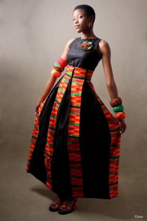 Red/ black no sleeves long dress kutowa design #ItsAllAboutAfricanFashion