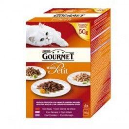El alimento para gatos adultos Gourmet Mon Petit está formulado con los mejores ingredientes y presentado en finos cortes de carnes o pescados acompañados de deliciosas salsas que encantarán a tu mascota.