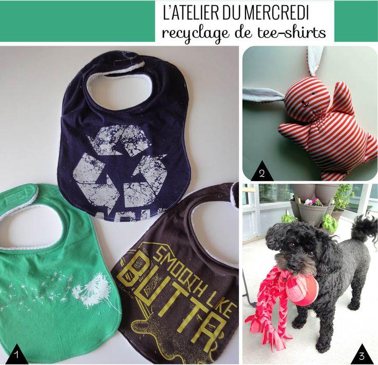 18 tutos pour recycler ses vieux tee-shirts en écharpe, bracelets, jupes, sacs, paniers, bavoirs ou jouets pour chien !