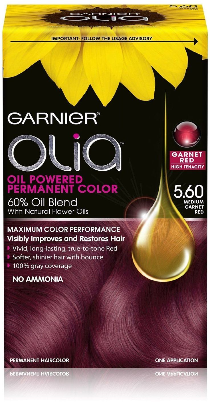 Garnier Olia Permanent Hair Color 5.60 Medium Garnet Red Ammonia Free Hair Dye