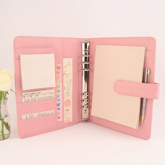 A5 Leather Ring Binder Personal Planner - 6 Ring, Lots of pockets, personalized & available in different colors.