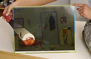 Leuke opdracht om uit te werken met kinderen. Tekening maken met watervaste stiften op doorzichtig papier, bijvoorbeeld plastificeerd papier. Daarna een zwart papier er achter leggen (nieten) en een 'zaklamp' maken op wit papier.  Als je dan de zaklamp tussen het doorzichtige en het zwarte papier doet, kun je zien wat de leerlingen hebben getekend. (zie KERN 9 voorlees omslag boek voor het voorbeeld)