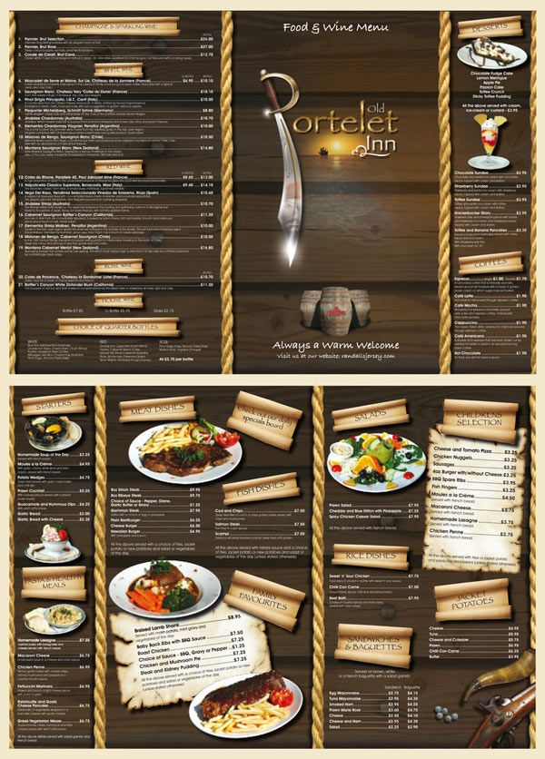 Great Restaurant Menu Design: Very Creative Menu That Despite All The  Clutter And Activity Works. The Images Are Cute, The Scrolled Paper  Headings Are Neat, ...