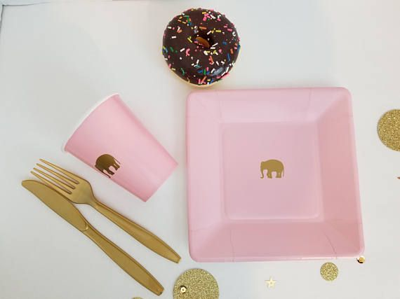 Chic Pastel Pink and Gold Safari Dessert Plates and Cups, Elephants or Giraffe Gold Safari Plate Set, Chic Safari Theme, Gold Safari Party, Contemporary Safari