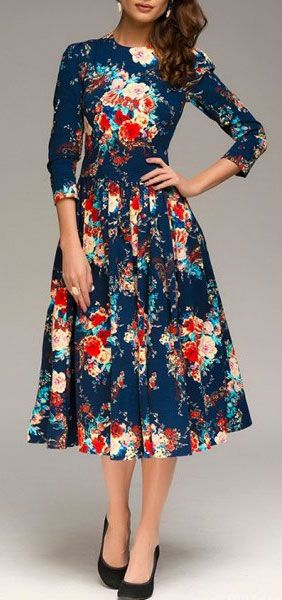 beautiful floral dress in dark blue for a special occasion