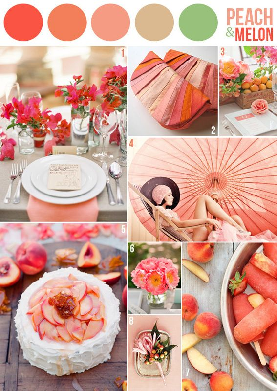 wedding color combination peach and melon oranges pinks and green good for