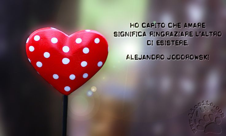 """Ci sono frasi che non hanno bosogno di commenti .. come questa :) """"Ho capito che amare significa ringraziare l'altro di esistere."""" Alejandro Jodorowski"""