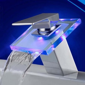Color Changing LED Bathroom Sink Faucet (Waterfall)$48.41!!! feeling like redoing the restroom anyway :)