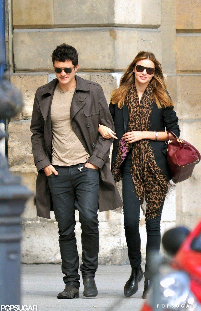 c3d74e41a14 Miranda Kerr and Orlando Bloom linked arms strolling around the streets of  Paris in September 2009. Image S..