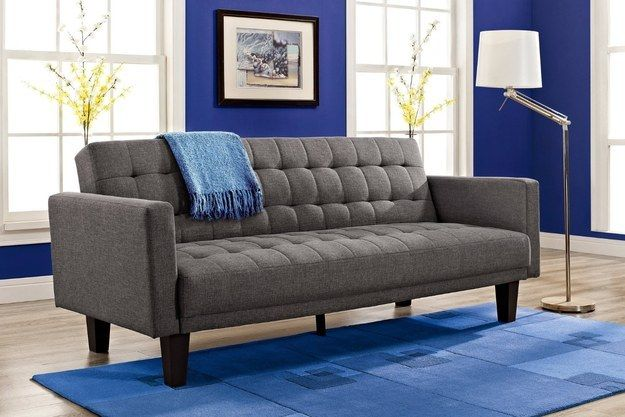 This tufted fold-down sleeper sofa that's a great option for anyone who has frequent houseguests. | 22 Cheap Sofas That Look Like A Million Bucks