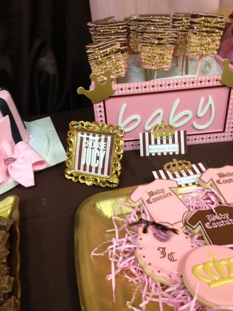Awesome treats at a Juicy Couture Baby Shower!  See more party ideas at CatchMyParty.com!